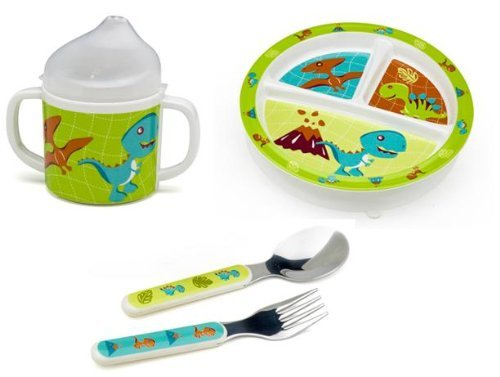 Sugarbooger Divided Plate, Sippy Cup, and Silverware Set-Prehistoric Dino Pals - 1