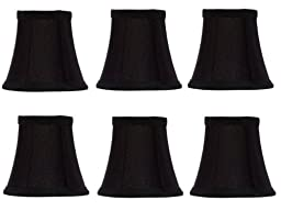 Upgradelights® Set of 6 Chandelier Lamp Shades 6 Inch Black Silk with Gold Lining