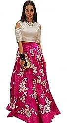 Earth Creation Women's Skirt & Top Set (AAShrdha_whhite_Large)