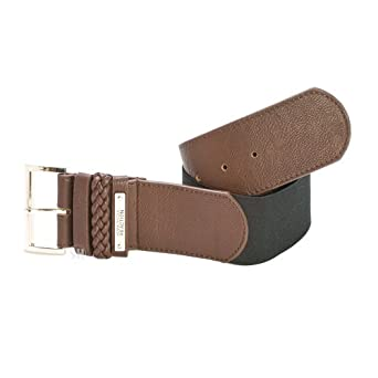 Brown Kenneth Cole Elastic Braid Belt S/M