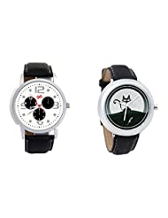 Gledati Men's White Dial And Foster's Women's Black Dial Analog Watch Combo_ADCOMB0001861