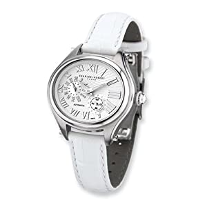 Stainless Steel White Strap Automatic Watch by Charles Hubert Paris Watches, Best Quality Free Gift Box Satisfaction Guaranteed