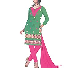 Gilora Fashions Women's Cotton Unstitched Dress Material (GF-116_Green and Pink)