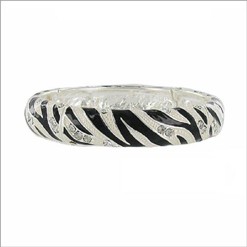 JOA Zebra Pattern W Stone Stretch Bracelet #040050