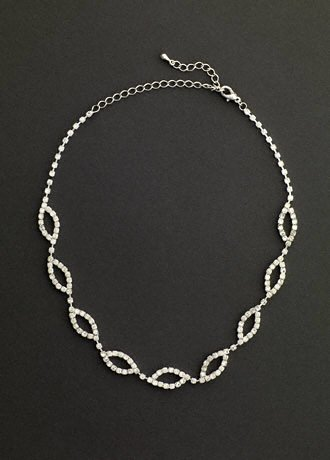 David's Bridal Crystal Open Leaf Necklace Style NK7194, Crystal/Silver