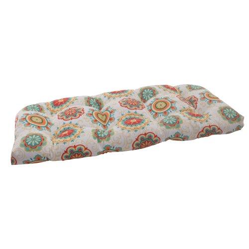 Pillow Perfect Indoor/Outdoor Fairington Wicker Loveseat Cushion, Aqua photo