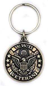 Commemorative World War II Veteran Keychain Military Commemorative Collectibles, Patriotic Gifts for Men, Women, Teens, Veterans Great Gift Idea for Wife, Husband, Relative, Boyfriend, Girlfriend, Grandparent, Fiance or Friend. Perfect Christmas Stocking Stuffer or Veterans Day Gift Idea. Design: For Women or Men!