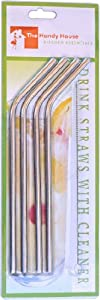 The Handy House Stainless Steel Drinking Straws with Cleaner- Set of 8