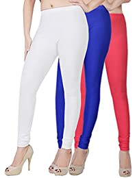Fashion And Freedom Women's Pack Of 3 White,Blue And Red Satin Leggings