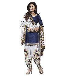 RR Fashion Women's Cotton Unstitched Dress Material (R-blue-white_BLUE)