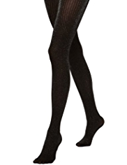 Striped Opaque Metallic Effect Tights