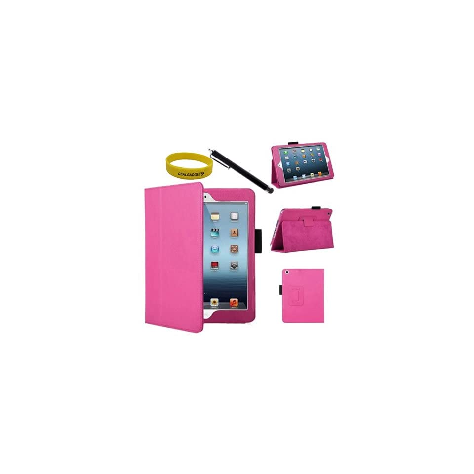 Dealgadgets® Hot Pink Leather Case Cover for Apple Ipad Mini 2 with Free Black Stylus & Wristband