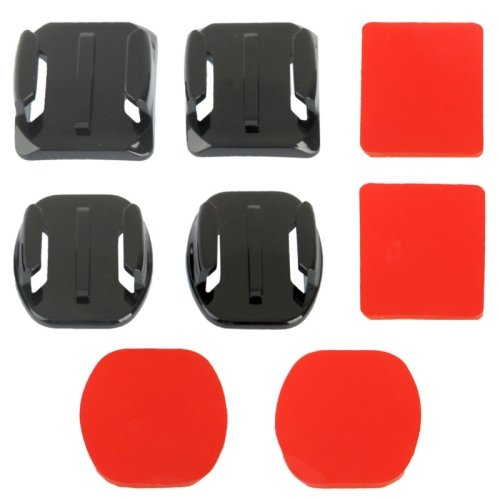 2-gebogene-Oberflche-2-flache-Oberflche-Adapter-4-Klebesockels-Aufkleber-fr-GoPro-Hero-123