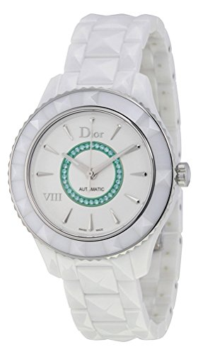 Limited Edition Christian Dior VIII White Ceramic Womens Watch Paraiba tourmalines CD1245EEC001