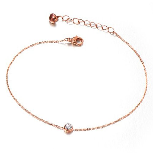 PlusMinus Women's 316L Stainless Steel Simple Single Diamond Pendant Gift Anklets Rose Gold