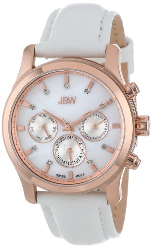 JBW Women's Quartz Watch with Black Dial Analogue Display and Gold Leather J6270B Marilyn