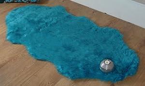 Teal blue aqua faux fur double sheepskin style rug 70 x 140 cm