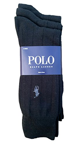 Polo Ralph Lauren Set of Three Men's Dress Socks, Solid Black, Grey Pony, Slightly Ribbed (Size 10-13)