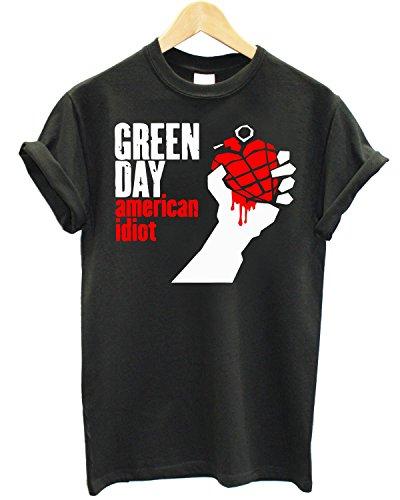 T-shirt Uomo Green Day American Idiot Maglietta 100% cotone LaMAGLIERIA,L , Grafite