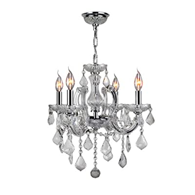 Worldwide Lighting W83119C18-CR Catherine Collection 4-Light with Clear Crystal Chandelier, Medium, Silver