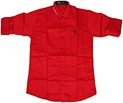 Accurate Boys' Cotton Shirt (SH 161, Red, 12)