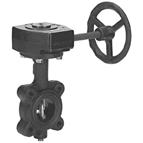 "Milwaukee Valve ML322V Series Cast Iron Butterfly Valve, Lug Style, Nickel Plated Ductile Iron Disc, Viton Seat, Gear Operator, 8"" Flanged"
