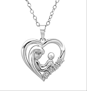 Mother Child Diamond Heart Pendant-Necklace in Sterling Silver