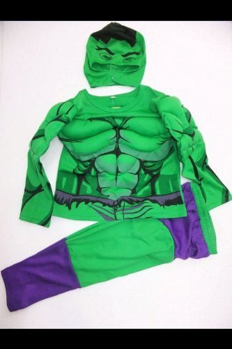 Kids Green And Purple Incredible Hulk Fancy Dress Costume With 'built In' Muscles. Age6-7 Years Picture