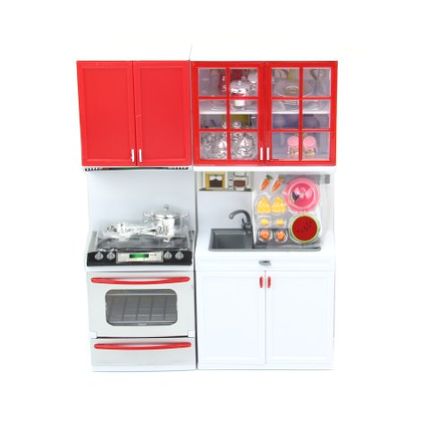 Estone Red Kids Kitchen Pretend Play Cook Cooking Set Cabinet Stove Fun Toys