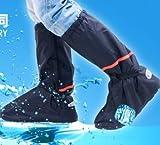 突然の雨からブーツを守る! 完全防水レインブーツカバー コンパクト収納で携帯に便利 通勤時・自転車・バイクなど