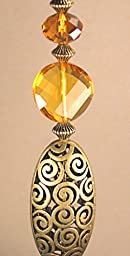 Gold Swirl Metal Cutout & Faceted Amber Lampwork Glass Ceiling Fan Pull /Light Pull