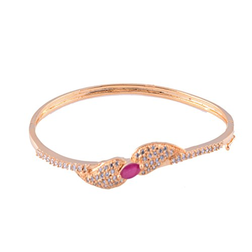 Ganapathy Gems 1 Gram Gold Plated Bracelet With White CZ And Pink CZ - B00TLK6NRY
