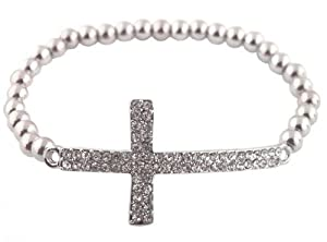 Silver Iced Out Cross Elastic Stretch Bracelet Shamballah