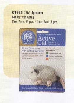 CFA Opossum Toy with catnip & internal rattle