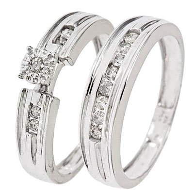 1/4 CT. T.W. Round Cut Diamond Women's Bridal Wedding Ring Set 14K White Gold - Size 10.5