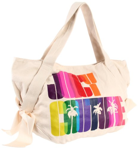 Juicy Couture Rainbow Canvas Bow Tote Bag Natural