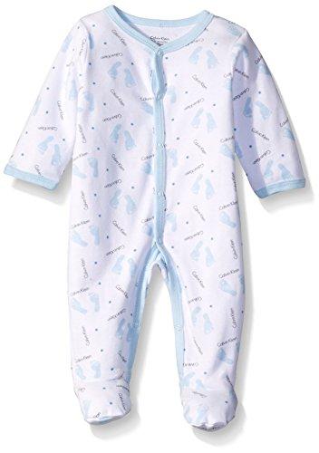 Calvin Klein Baby-Boys Interlock Sleeper, Blue, 3-6 Months