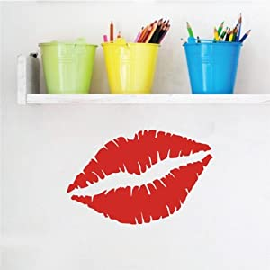 "ColorfulHall 11.8"" X 18.9"" Big Red Lips Kiss Mark Wall Decal Sexy Wall Sticker Decor Mural Art Removable Vinyl Home Room Decoration"