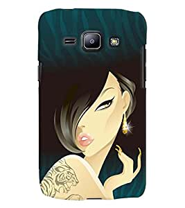 Fuson Blue Pattern Girl Back Case Cover for SAMSUNG GALAXY J1 - D3696