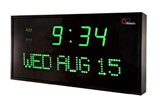DBTech Big Oversized Digital Green LED Calendar Clock with Day and Date - Shelf or Wall Mount (22 inches - Green LED)