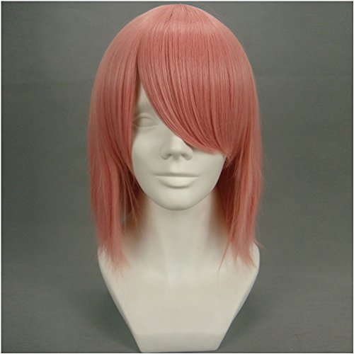 Flovex Short Pink Anime Cosplay Wig Naruto Haruno Sakura Costume Party Hair (Adult Short Pink Wig)