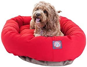 Majestic Pet 32-Inch Bagel Bed for Pets, Red