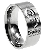 316L Stainless Steel Ring with Cubic Zirconia, Width: 9mm, Sizes: 5.0-8.0