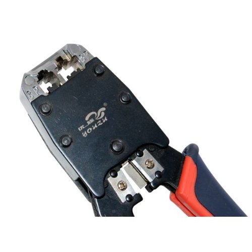 Delcast® Ratcheting Cable Crimper Tool & 10 Modular Connectors for CAT5 CAT5e RJ-45 Network Cables