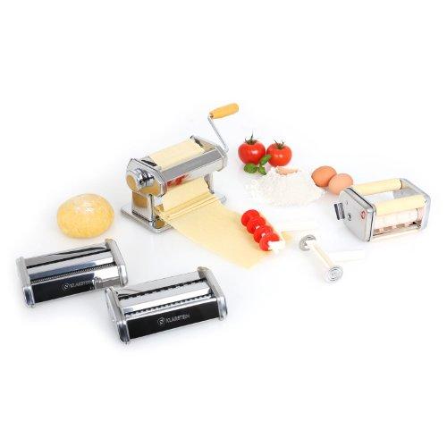 Klarstein Universal Edelstahl-Nudelmaschine (3 Knetwalzen-Aufsätze, für 15cm Teigbreite, verstellbare 2er Klinge) silber