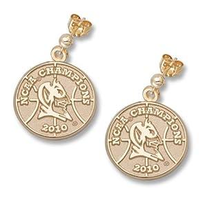 Duke Blue Devils 5 8 2010 NCAA Champions Logo Post Ball Earrings - 14KT Gold Jewelry by Logo Art