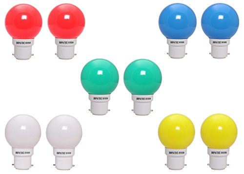 0.5W LED Bulbs (Pack of 10) (Multicolor: Green, White, Blue, Yellow, Red)