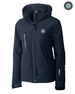 Seattle Mariners Ladies WeatherTec Sanders Jacket Navy Blue by Cutter & Buck