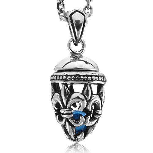 Men'S Stainless Steel Enamel Pendant Necklace Silver Blue Knight Fleur De Lis Vintage -With 23 Inch Chain