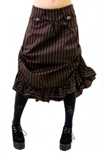 Altissimo-Womens-Steampunk-Vintage-Tucked-Ruffle-Hem-Stripe-Skirt-Sizes-6-16